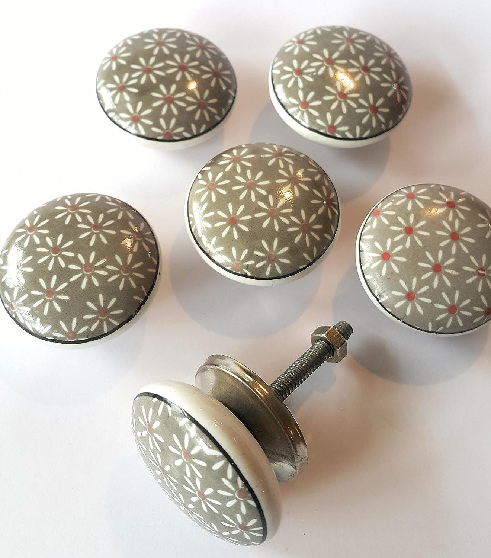 Set von 6 Keramik Knöpfe von französischen Möbelbeschläge (FFF ...