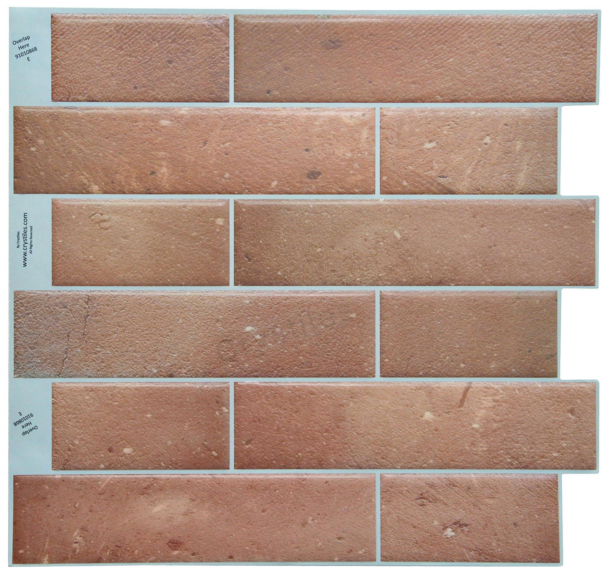 Crystiles Peel and Stick Adhesive DIY Backsplash Tile Stick-on Vinyl Wall Tile, Red Brick, Matt Finish, Item #91010868, 10'' X 10'' Each, 6 Sheets Pack by Crystiles
