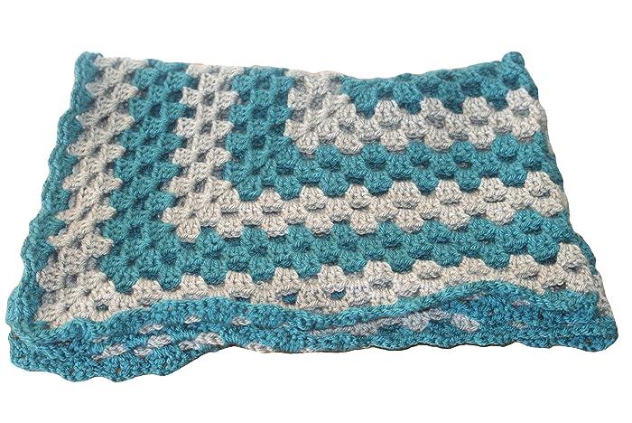 Amazoncom Teal Baby Blanket Gray Baby Afghan Pram Blanket Baby