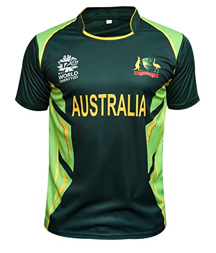 70ff5ed17 Skyfruit Collection Australia Cricket T Shirt Green Jersey T 20 World Cup  2017 (Medium)