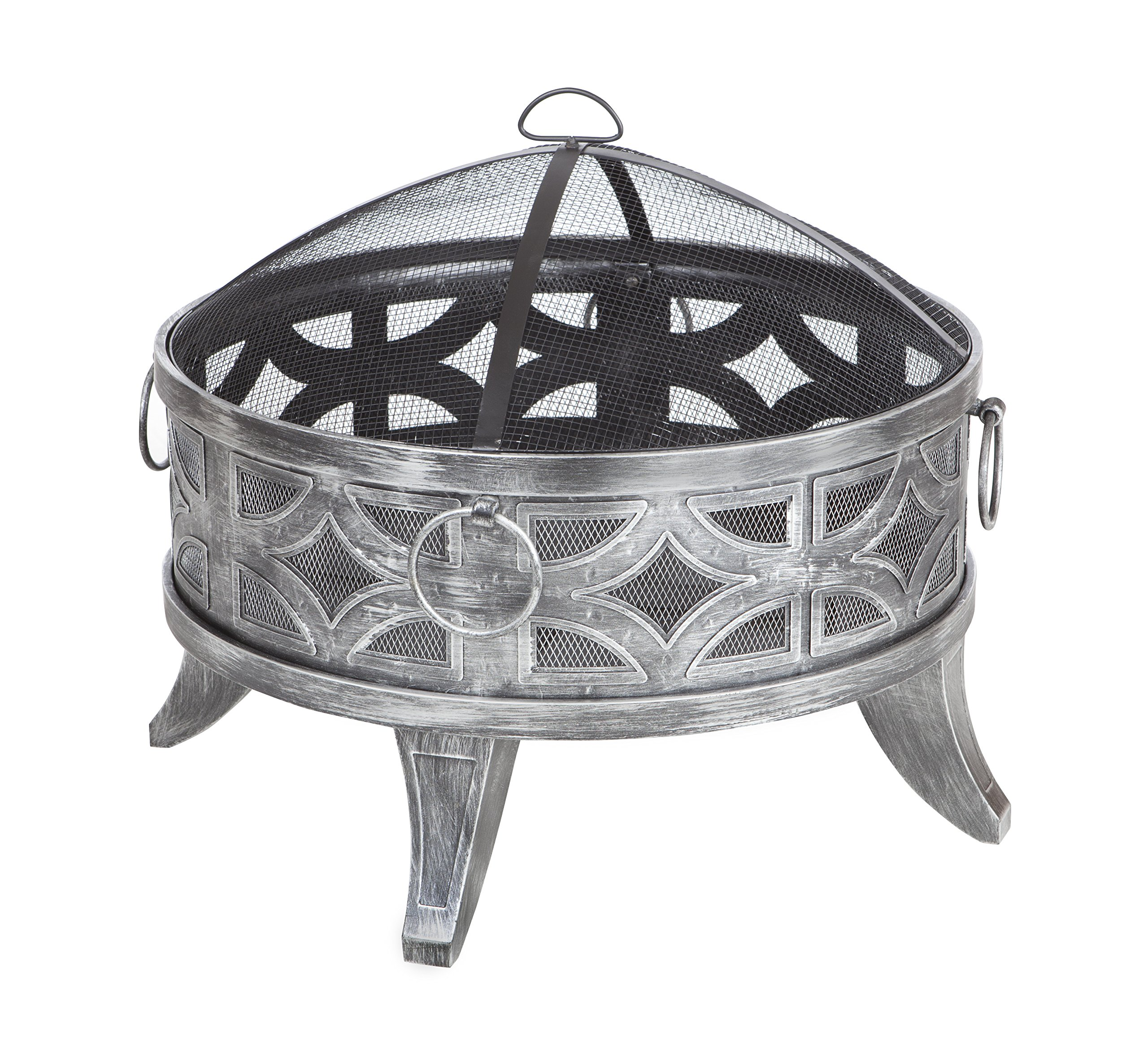"Fire Sense 62238 Firenzo Round Fire Pit, Multicolor - 26"" high temperature antique pewter finish Steel fire bowl 9"" deep fire bowl One-piece mesh spark screen with high temperature paint - patio, outdoor-decor, fire-pits-outdoor-fireplaces - 91FC%2BZrPw0L -"