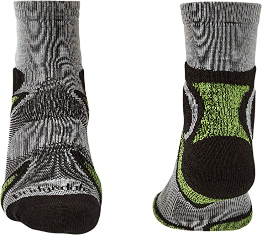 Bridgedale Men/'s Trail Sport LW T2 3//4 Socks 6 Pairs large 9-11.5 black//green