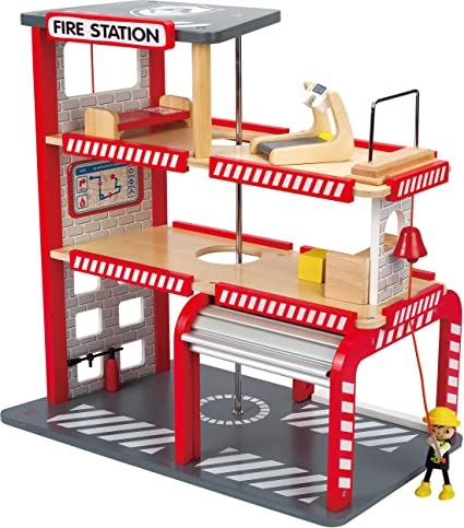 Hape Fire Station Toddler Wooden Doll House Play Set With Accessories