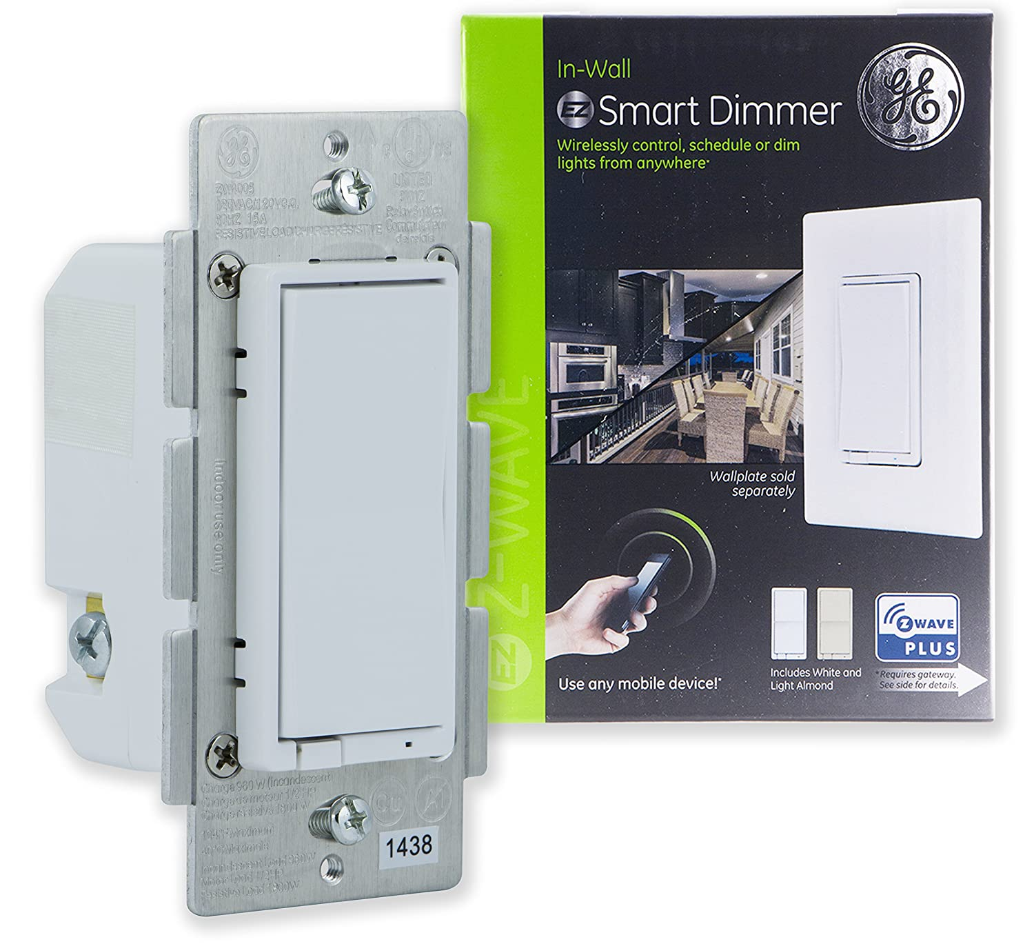 Ge Z Wave Plus Smart Control Dimmer Switch Wall White Light Wiring Almond Paddles Repeater Range Extender Zwave Hub Required Works With Smartthings Wink