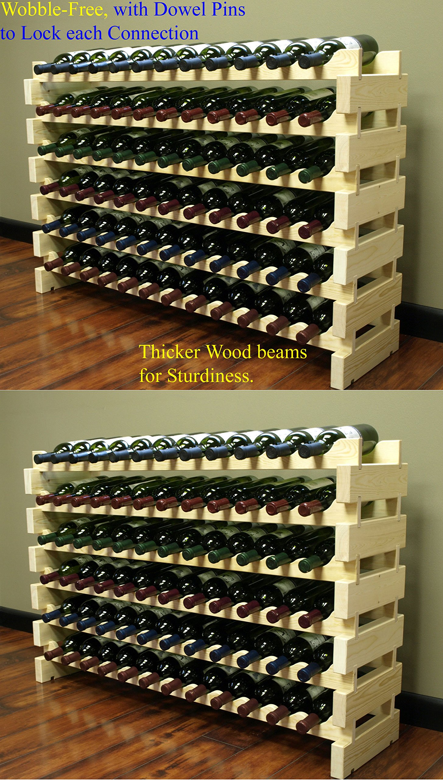 Stackable Modular Wine Rack Stackable Storage Stand Display Shelves, Wobble-Free, Pine wood, (144 Bottle Capacity, 12 rows x 12) by DisplayGifts (Image #1)