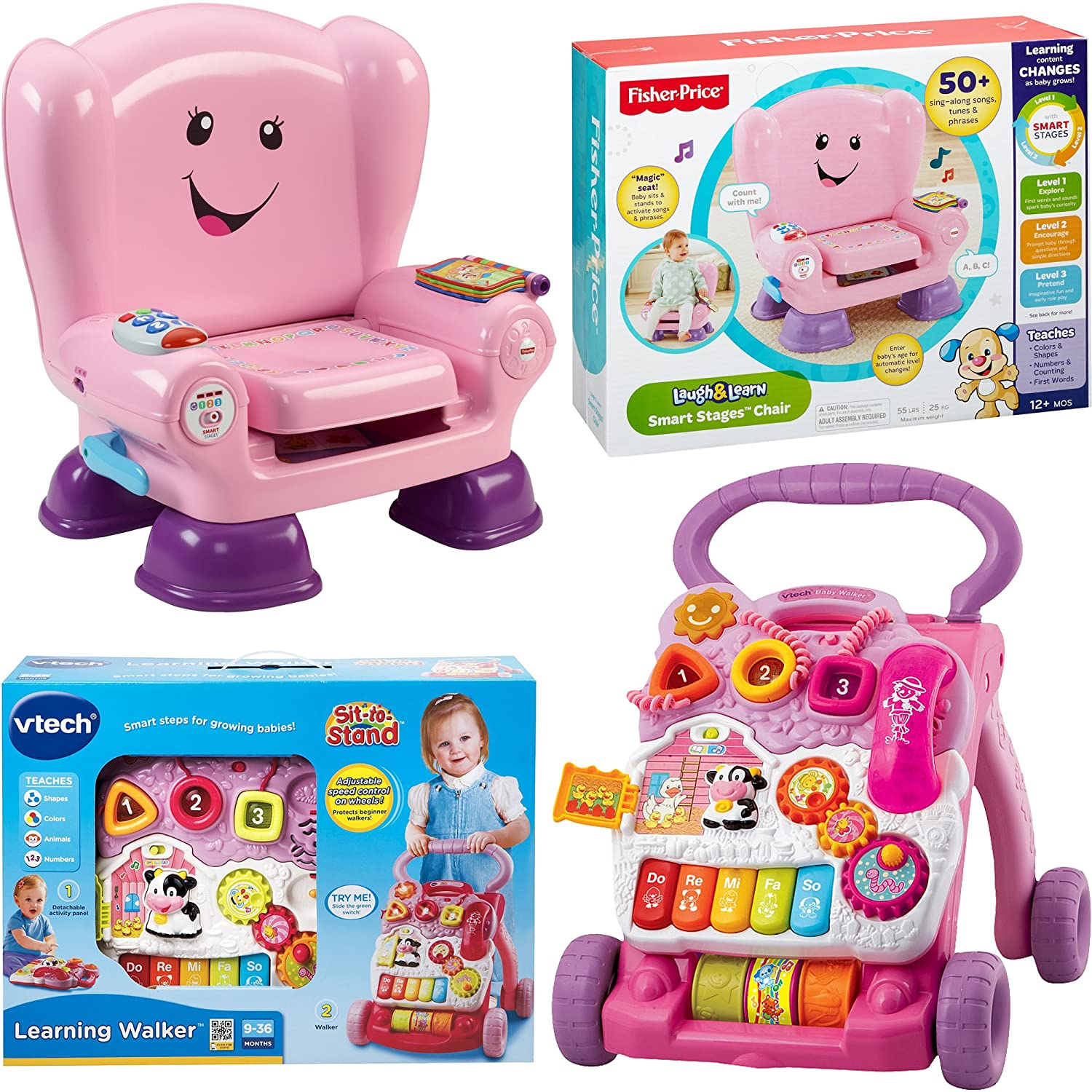 Fisher price smart stages chair - Amazon Com Vtech Sit To Stand Learning Walker And Fisher Price Laugh Learn Smart Stages Chair Kids Electronic Educational Musical Learning Toys For
