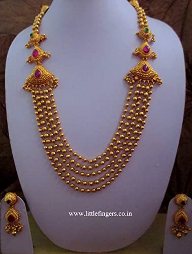 Buy e Gram Gold Plated Traditional Layer Chain Gold Design Ruby