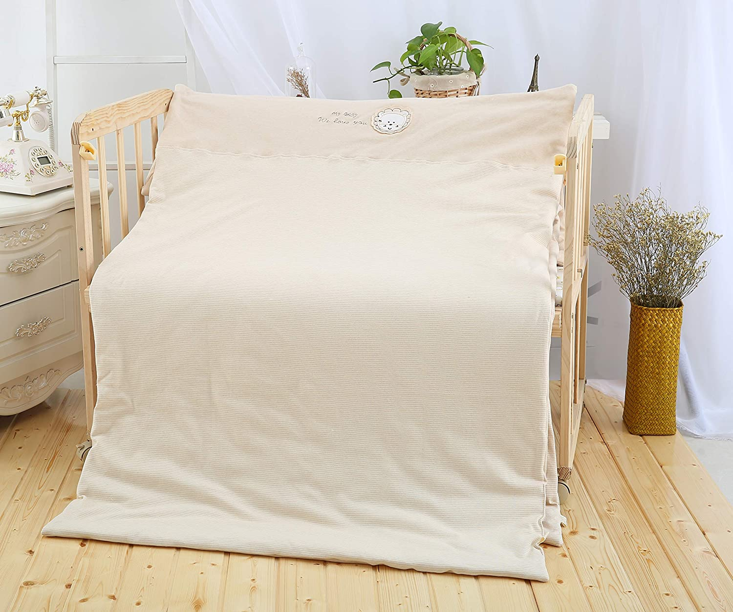 Toddler Cradle Quilt-100% Soft Organic Cotton Comforter,Breathable Blanket,Washable,Light Brown, 39.3