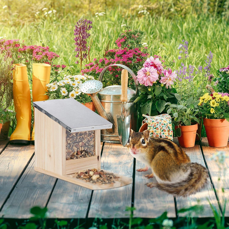 Marron Relaxdays Mangeoire pour /écureuils pour Le Jardin /à accrocher Hotte en Bois Effet flamm/é Toit m/étallique /étanche