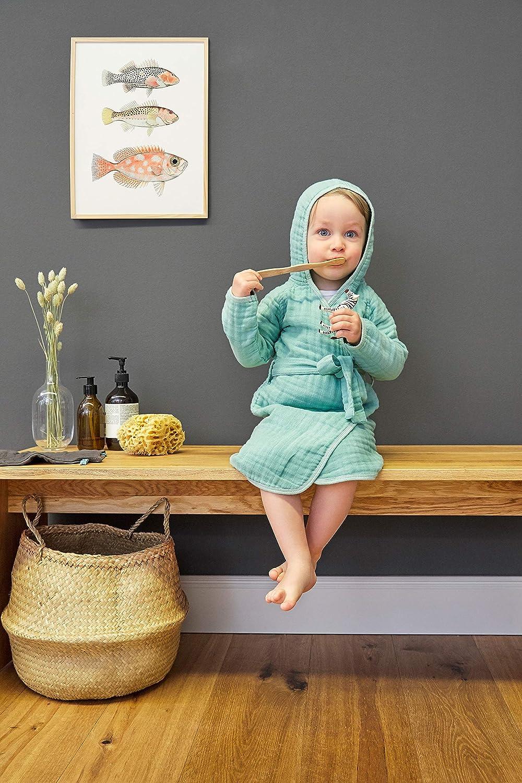L/ÄSSIG Kinder Bademantel mit Kapuze Muslin Baumwolle 12-18 Monate//Bathrobe grau
