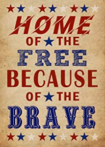 Covido Decorative Garden Flag Home of the Free Because of the Brave, American July 4th House Yard Decor Red White Blue Star Outside Decoration, USA Patriotic Outdoor Small Flag Double Sided 12 x 18