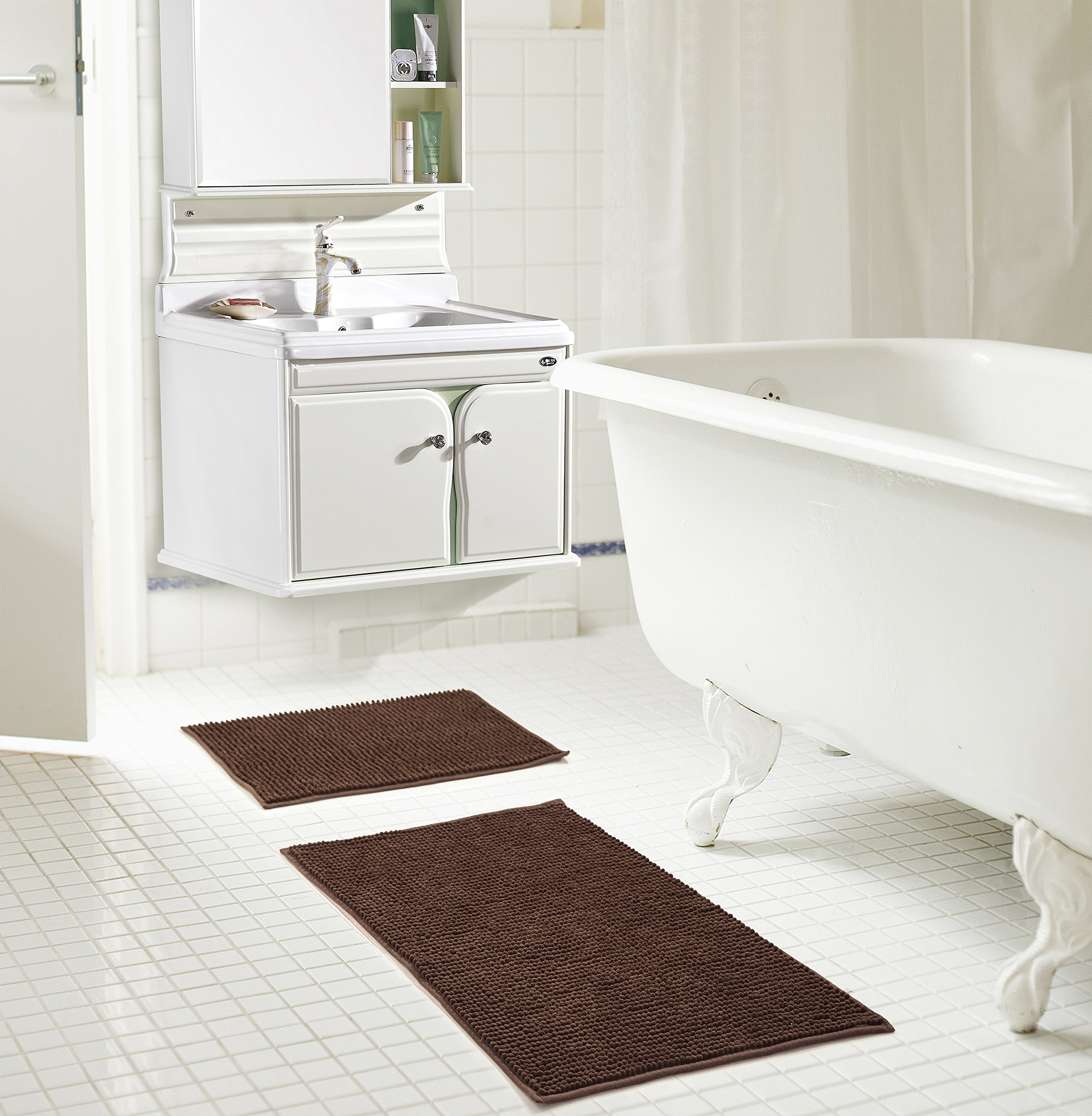 RT Designers Collection Kara Short Pile Chenille 2 Piece Bath Mat Set, 20'' x 32''/17'' x 24'', Chocolate by RT Designers Collection
