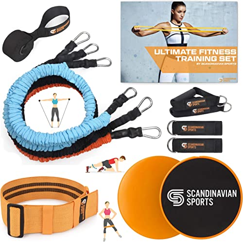 Scandinavian Sports Exercise Bands Set Fabric Resistance Tubes, Dual Sided Core Sliders, Adjustable Resistance Hip Band and Exercise Folder for Home Training and Full Body Workout