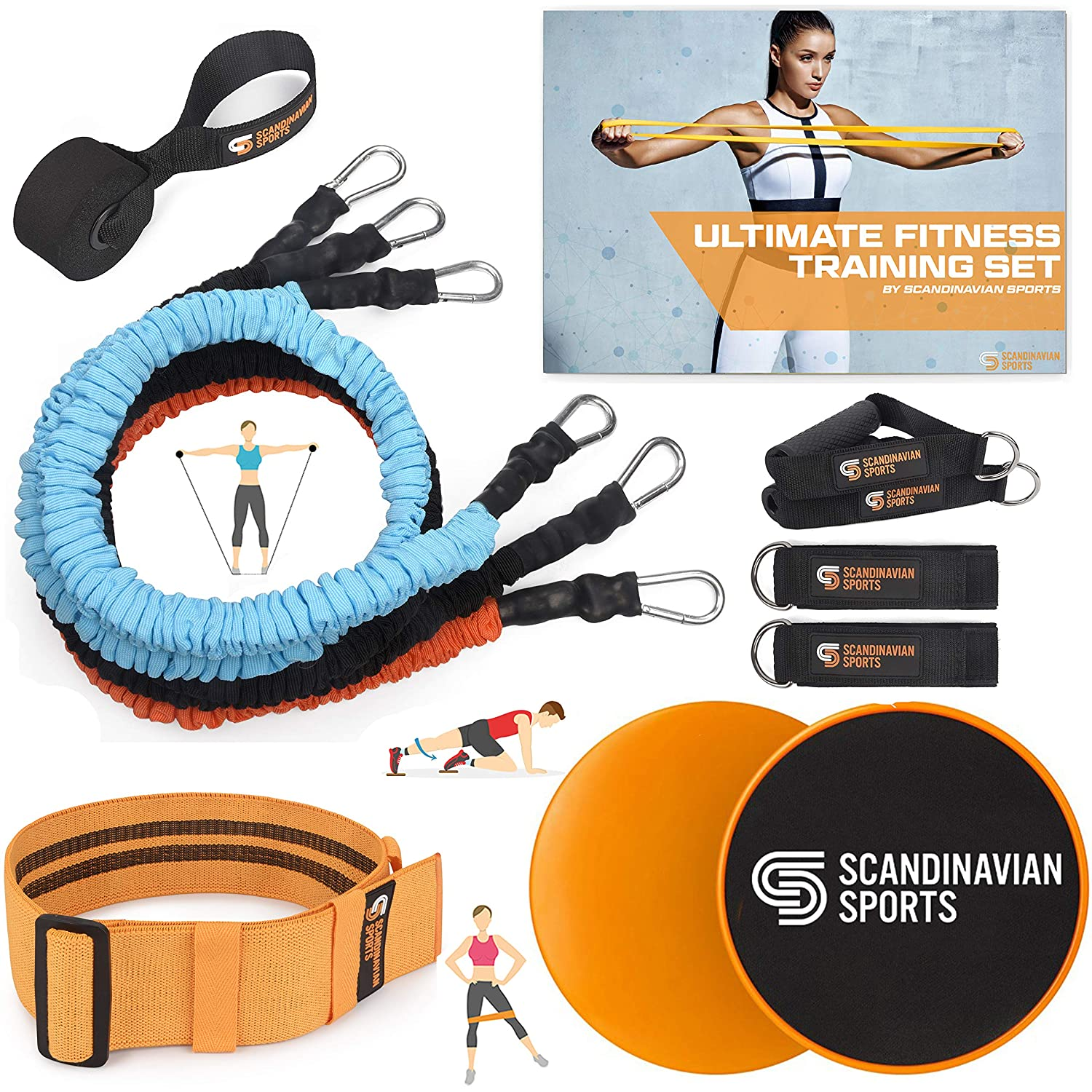Scandinavian Sports Exercise Bands Set Fabric Resistance Tubes, Dual Sided Core Sliders, Adjustable Resistance Hip Band and Exercise Folder for Fitness Training and Full Body Workout