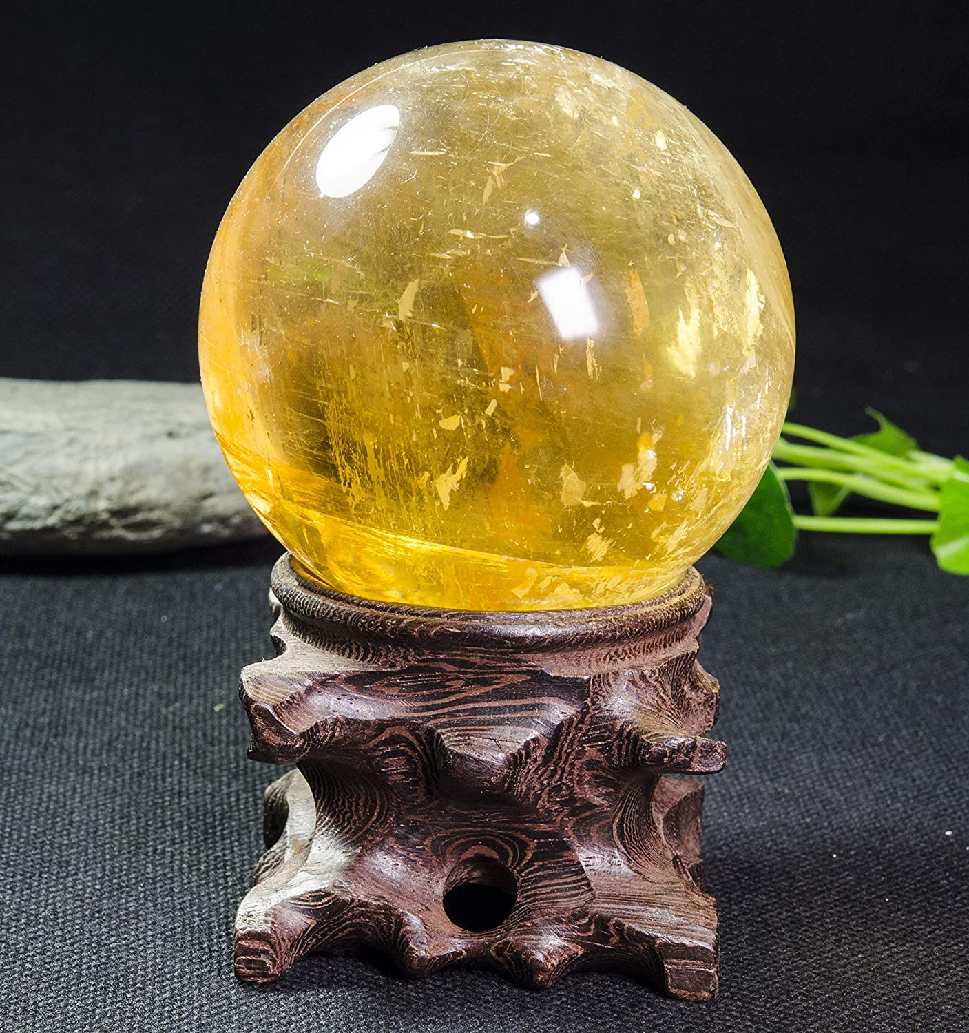 yippee Wholesale Hand Carved Round Hollowed-Out Burlywood Crystal Sphere Gemstone Ball and Specimen Wood Stand Base Without Items Stand-A