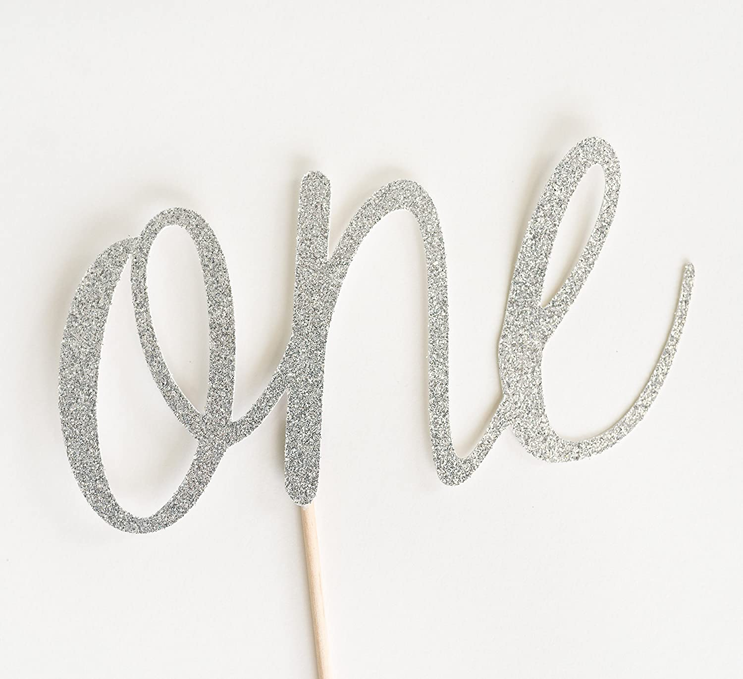 Silver Glitter 'One' Script Cake Topper, First Birthday, 1st, Cake Smash, Party