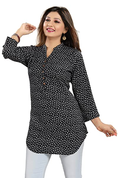 31708a833cb93 Dragaon Women s Poly Crepe Shirt-Style Kurti Top for Casual Wear-Black (SC