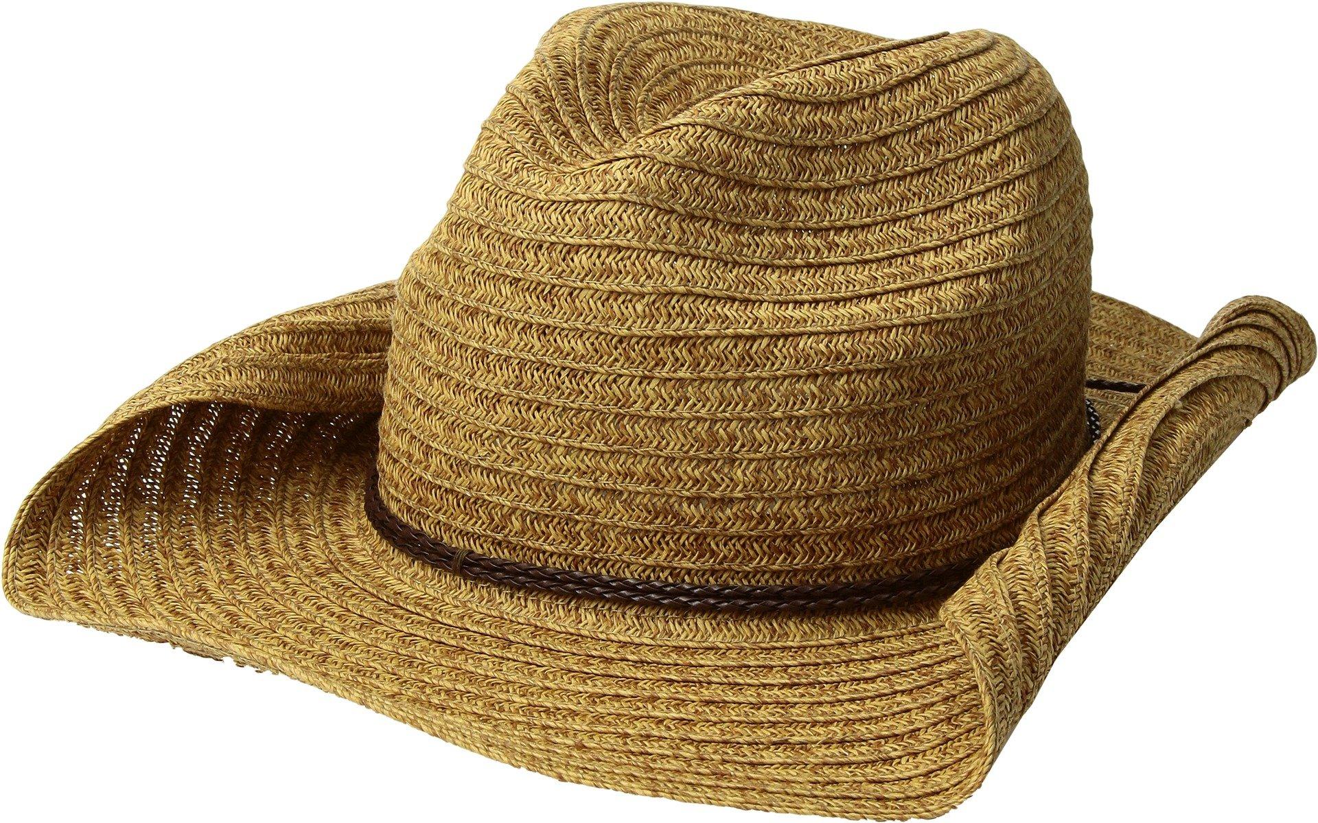San Diego Hat Company Women's Double Braid Trim Paperbraid Cowboy Hat, Natural, One Size