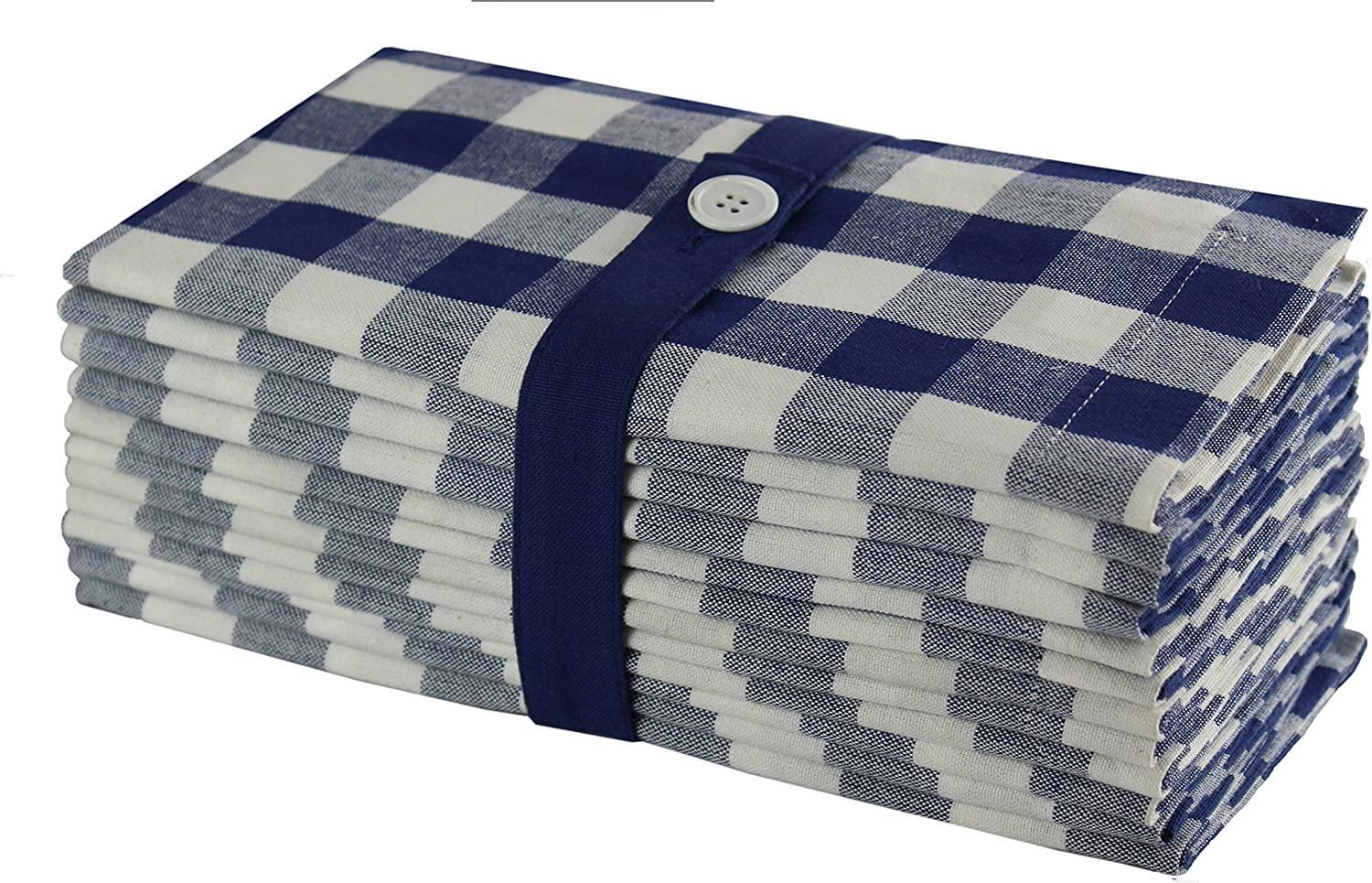 Linen Factory 52x70 CottonPoly NAVY BLUE//WHITE cafe mini check gingham