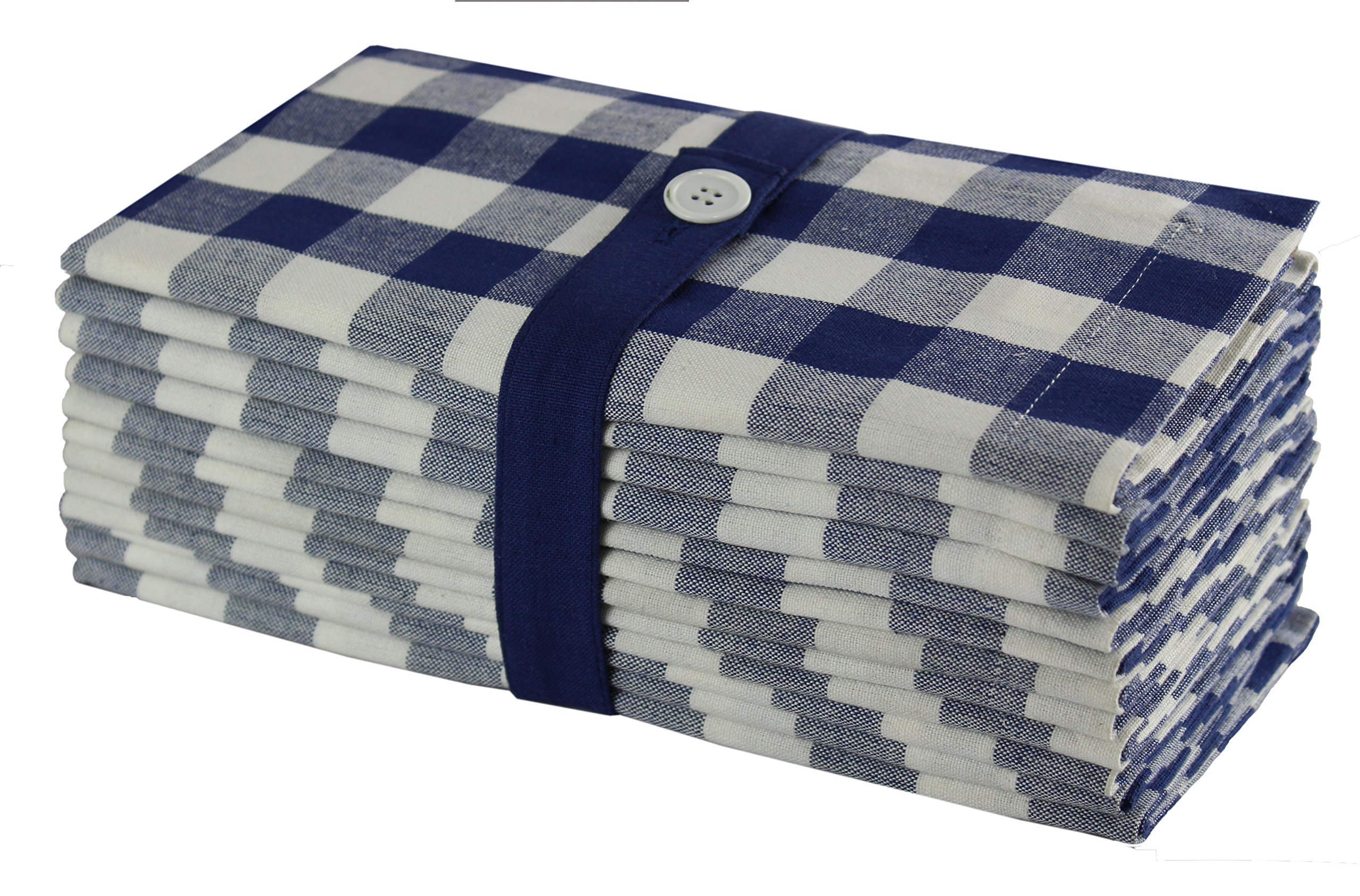 Cotton Craft 12 Pack Gingham Checks Oversized Dinner Napkins - Navy - Size 20x20-100% Cotton - Tailored with Mitered Corners and a Generous Hem - Easy Care Machine wash