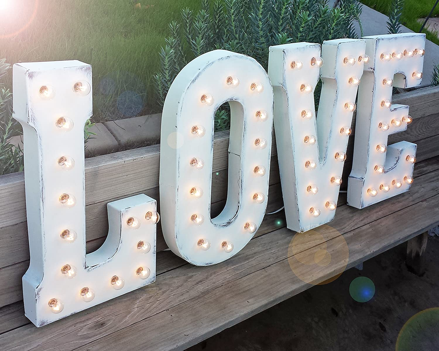 50 Sign Light Up Rustic Vintage Style Metal Marquee Sign Anniversary Numbers