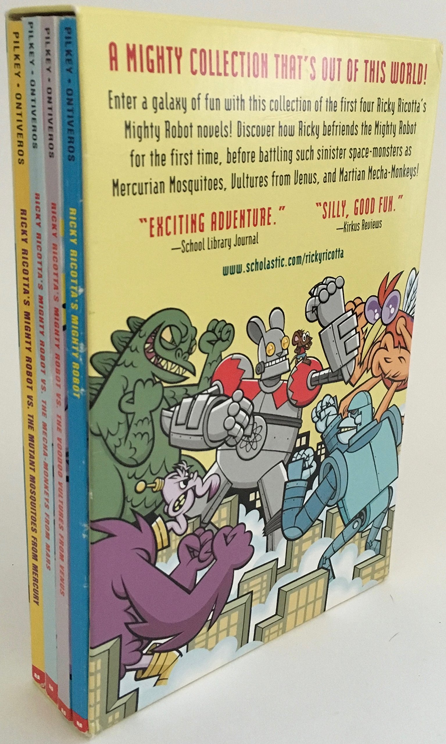 Amazon.com: Ricky Ricotta's Mighty Robot Collection (Books 1-4)  (9780439435222): Dav Pilkey, Martin Ontiveros: Books