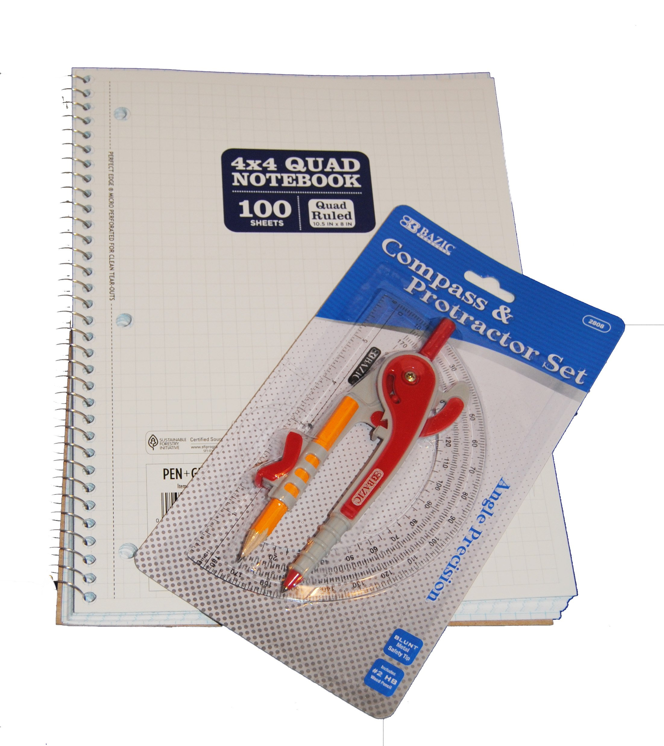 Spiral Bound 4x4 Graph Paper with Compass and Protractor Set for Geometry
