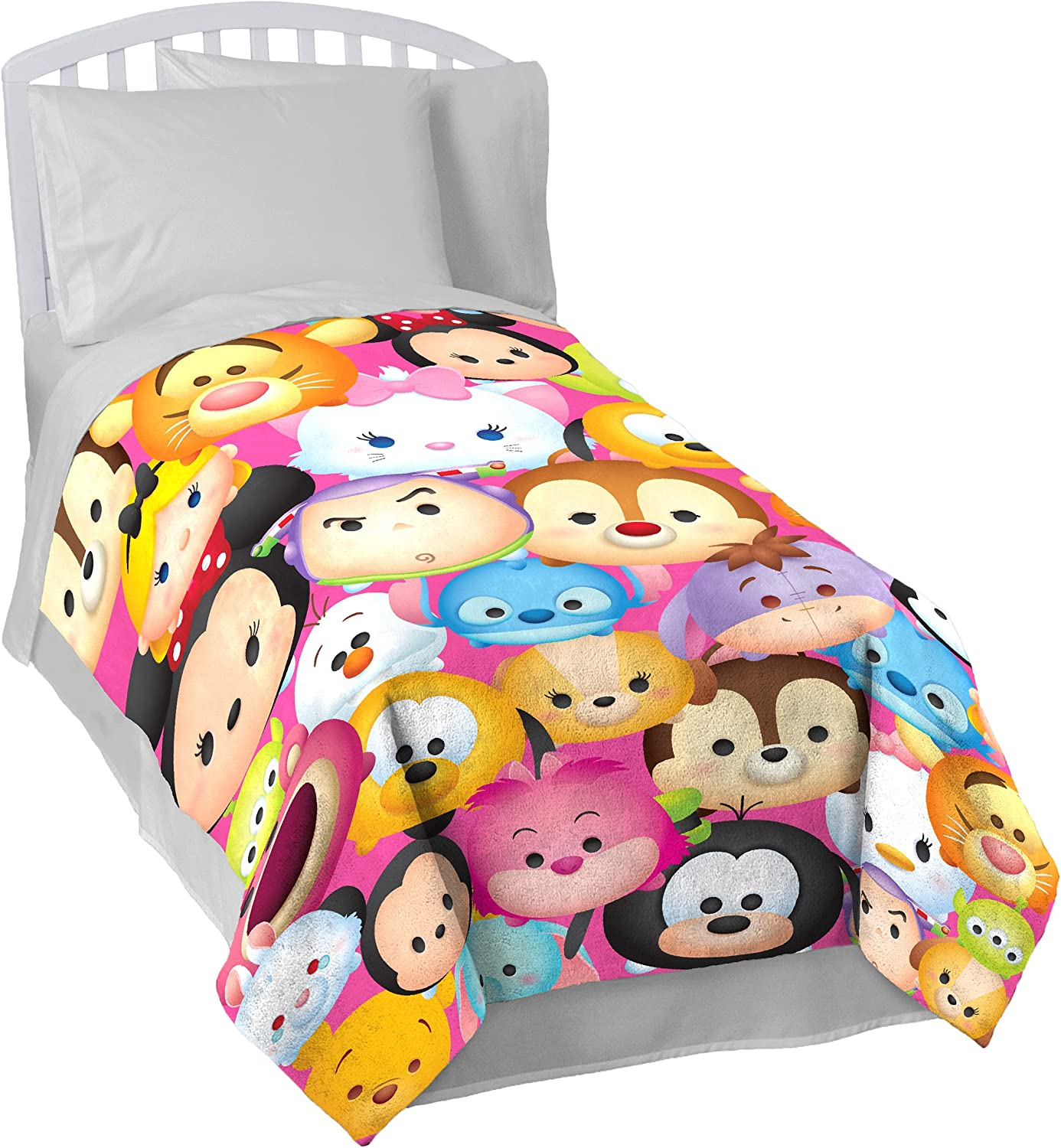 """Disney Tsum Tsum """"Faces"""" Flannel Plush with Silk Touch Reverse 62"""" x 90"""" Twin Blanket"""