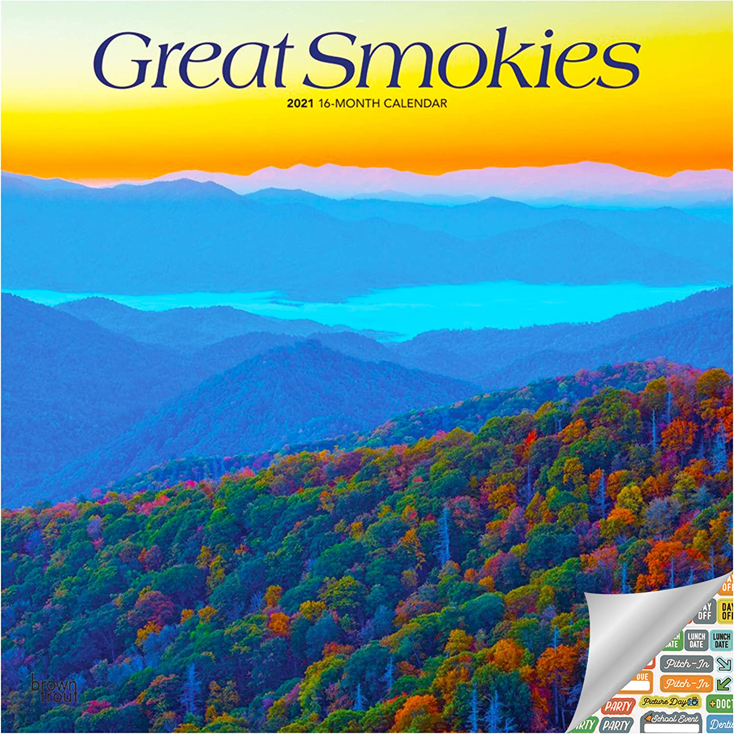 Great Smokies Calendar 2021 Bundle - Deluxe 2021 Great Smoky Mountains Wall Calendar with Over 100 Calendar Stickers (National Parks Gifts, Office Supplies)