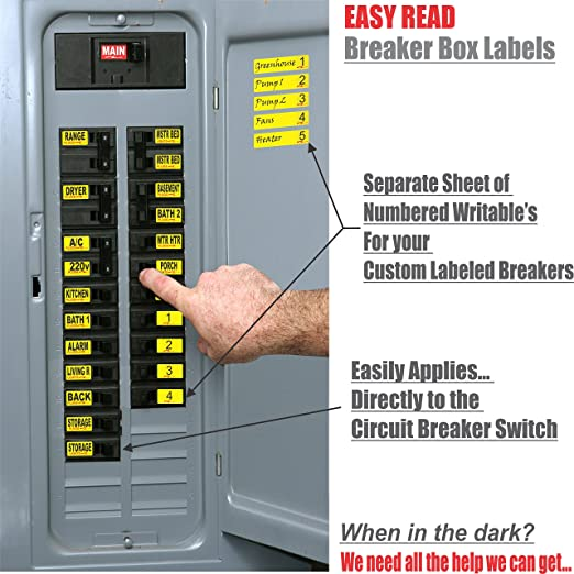 circuit breaker decals 105 tough vinyl labels for breaker panel boxes great for home or office apartment complexes and electricians placed Electrical Panel Breaker Box Parts