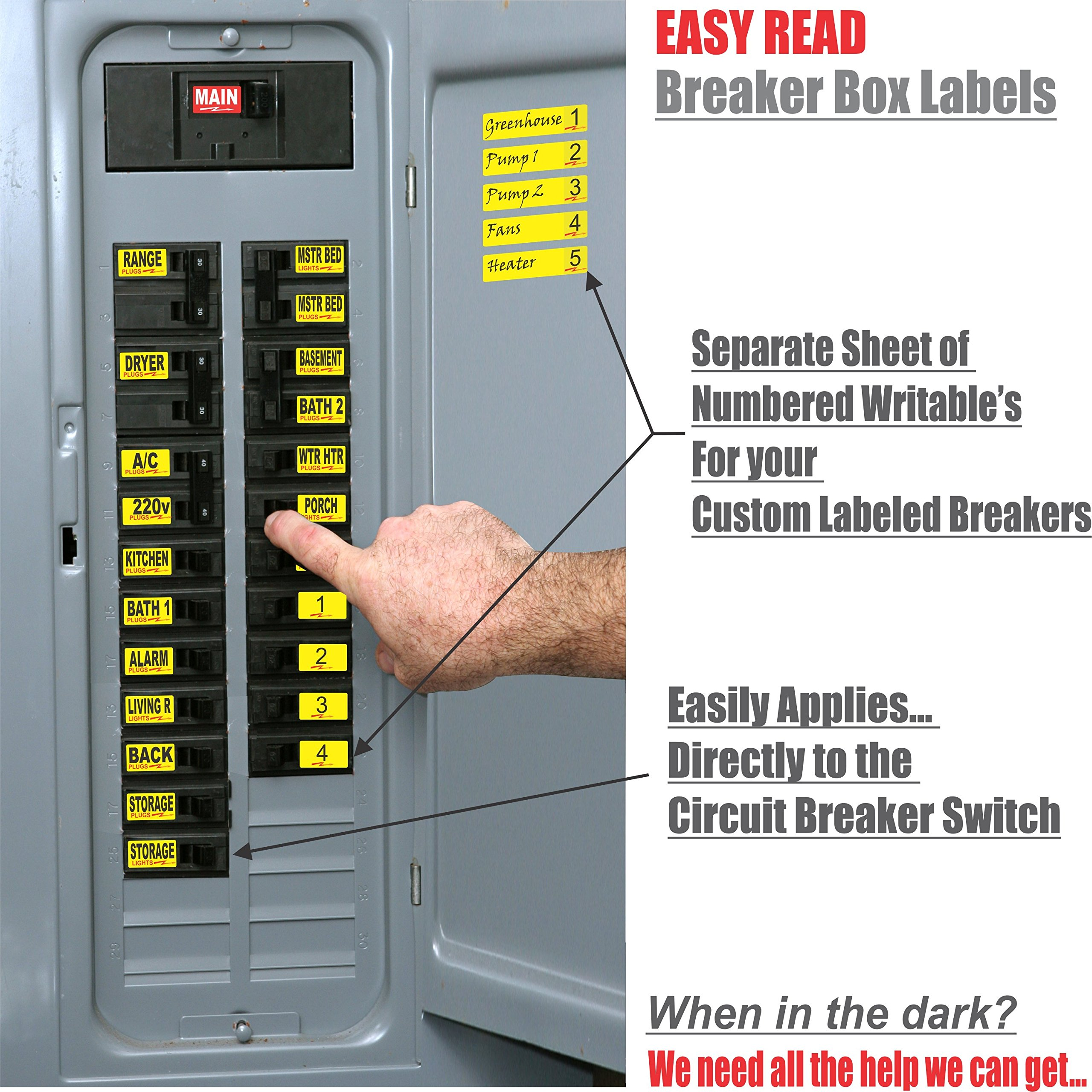 Circuit Breaker Decals 105 Tough Vinyl Labels For Panel 220v Fuse Box Boxes Great Home Or Office Apartment Complexes And Electricians Placed Directly