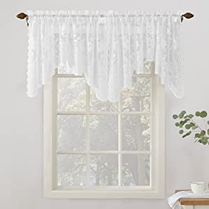 """No. 918 Alison Floral Lace Sheer Rod Pocket Valance Curtain Panel, 58"""" x 32"""", White"""
