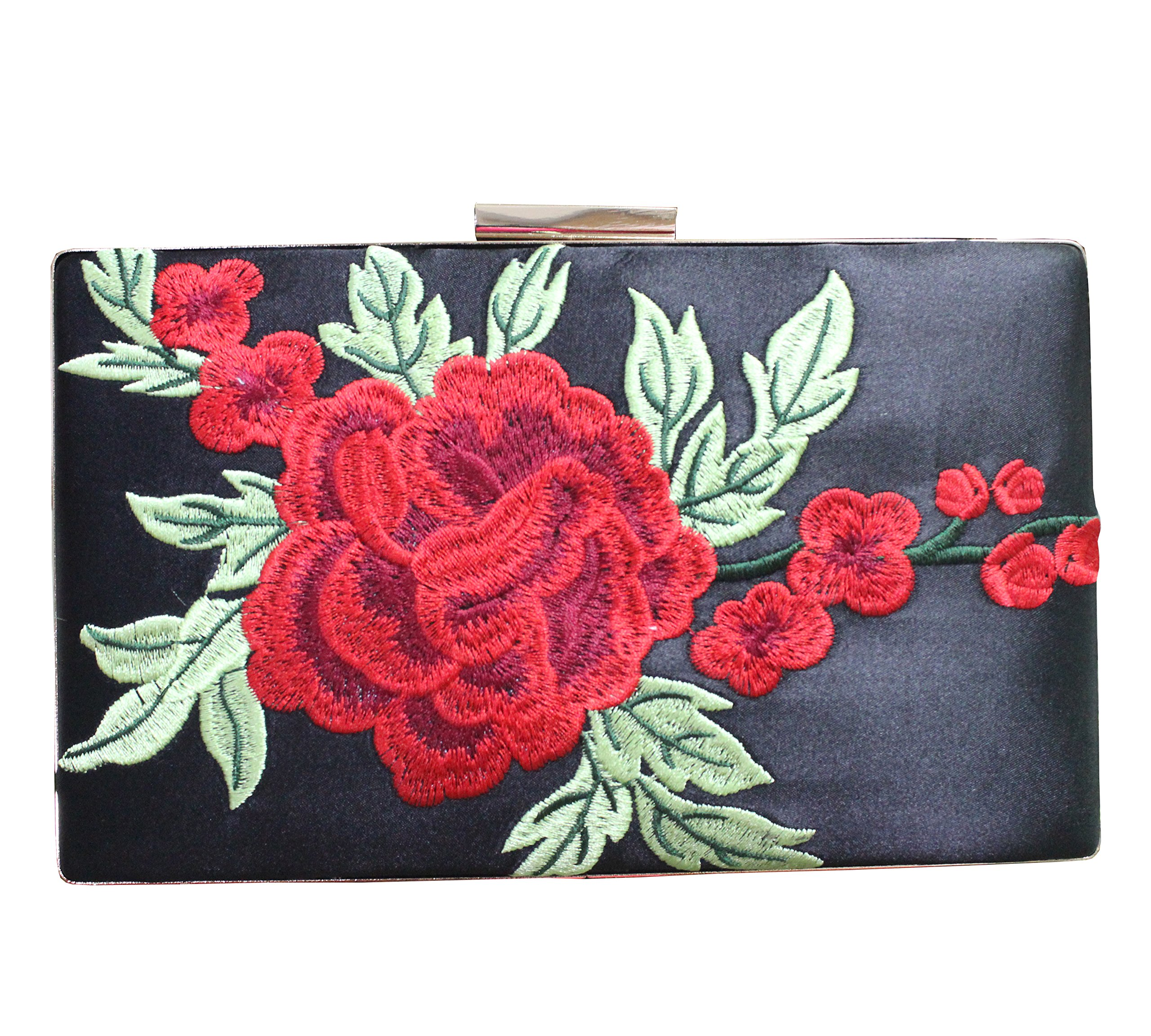 Women's Red Rose Floral Embroidered Satin Evening Clutch Vintage Metal Clasp Formal Purse(Black)