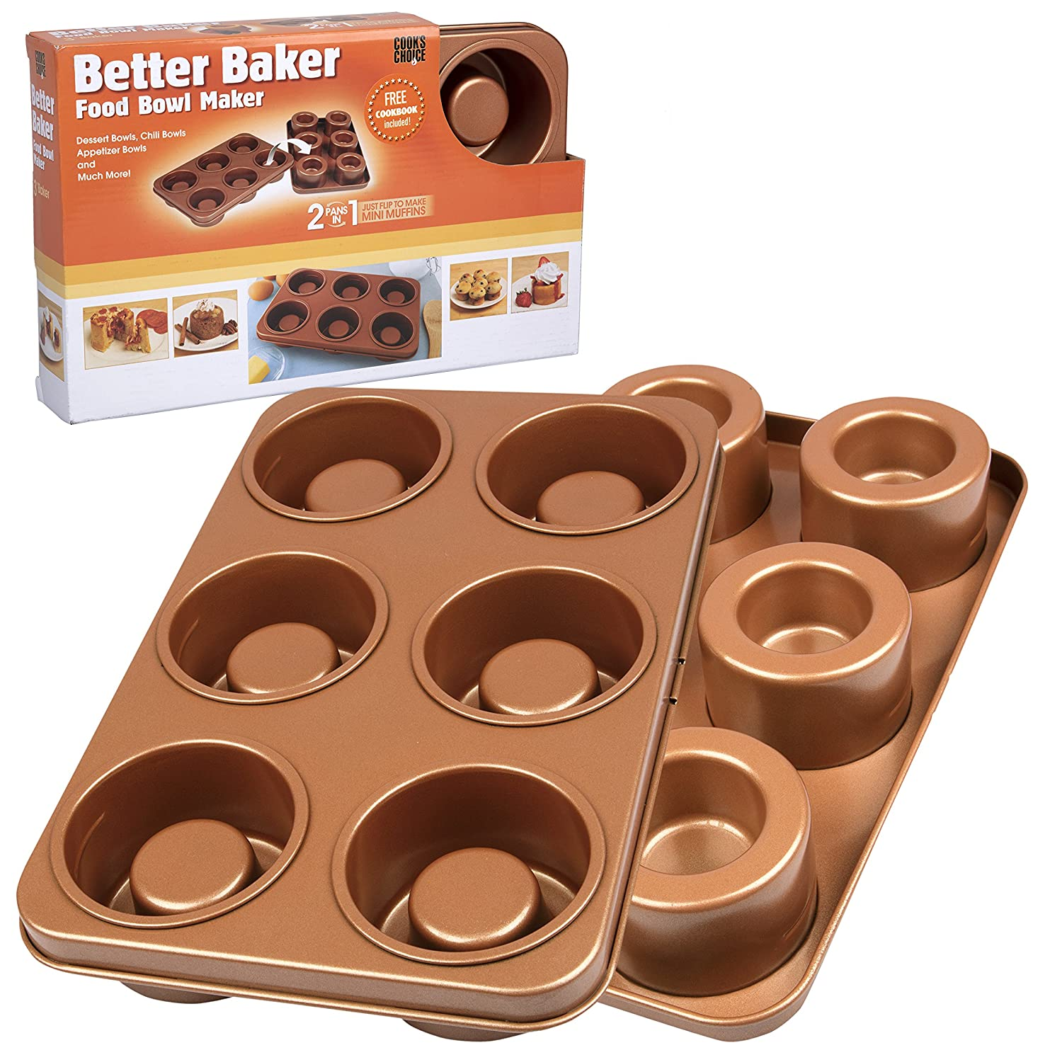 The Original Better Baker Edible Food Bowl Maker- Bake 6 Three Inch Dessert & Dinner Bowls or Mini Muffins Cook's Choice CKH_BB3_002
