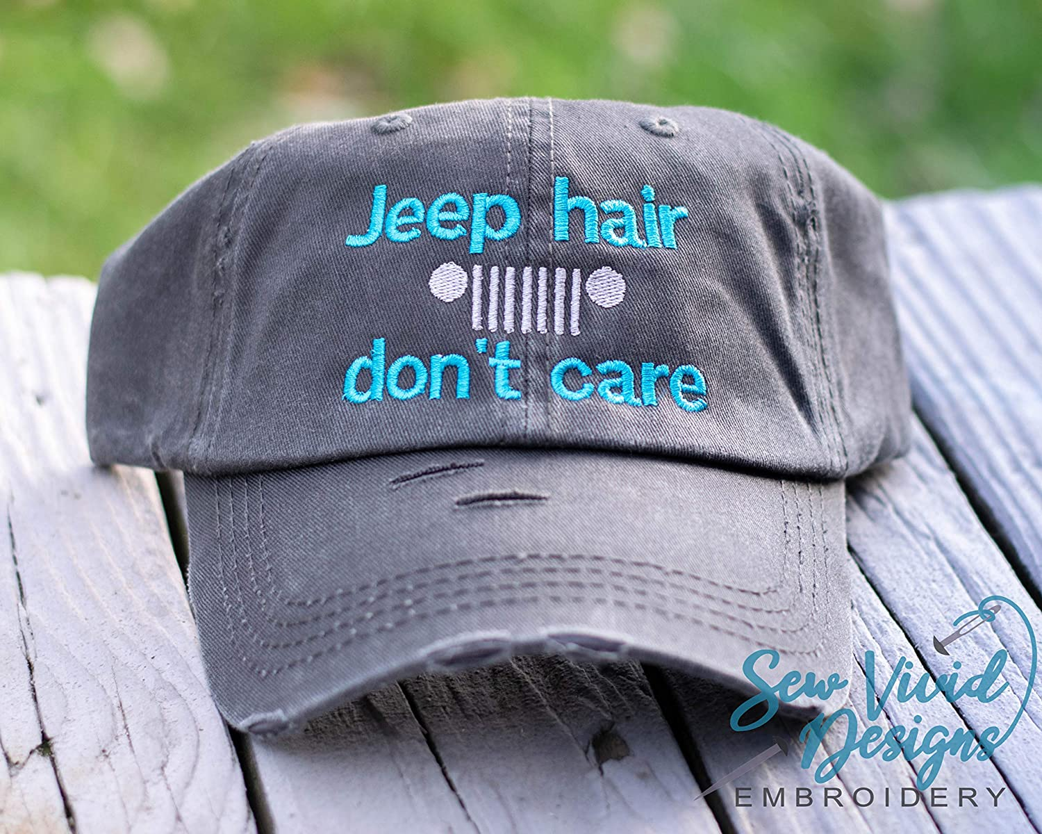 Jeep Hair Don't Care with Grille Distressed High Ponytail Baseball or Trucker Cap