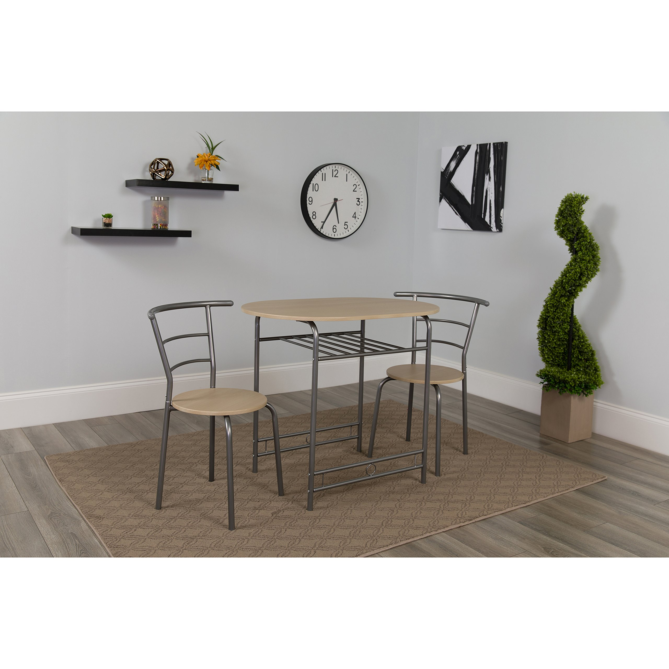 Flash Furniture Soho 3 Piece Space-Saver Natural Finish Bistro Table with Shelf and Chairs