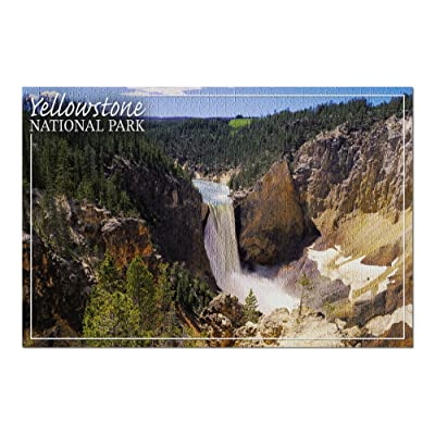 Yellowstone National Park - Lower Yellowstone Falls Aerial (Premium 1000 Piece Jigsaw Puzzle for Adults, 20x30, Made in USA!): Toys & Games