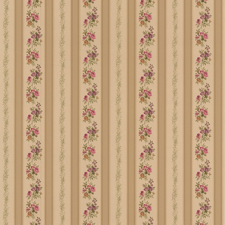 Brewster 414 56032 Princess Gold Floral Stripe Wallpaper Gold