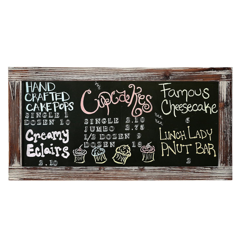 25 X 12 Rustic Style Wood Framed Erasable Chalkboard Message Memo Board, Cafe Menu Sign MyGift
