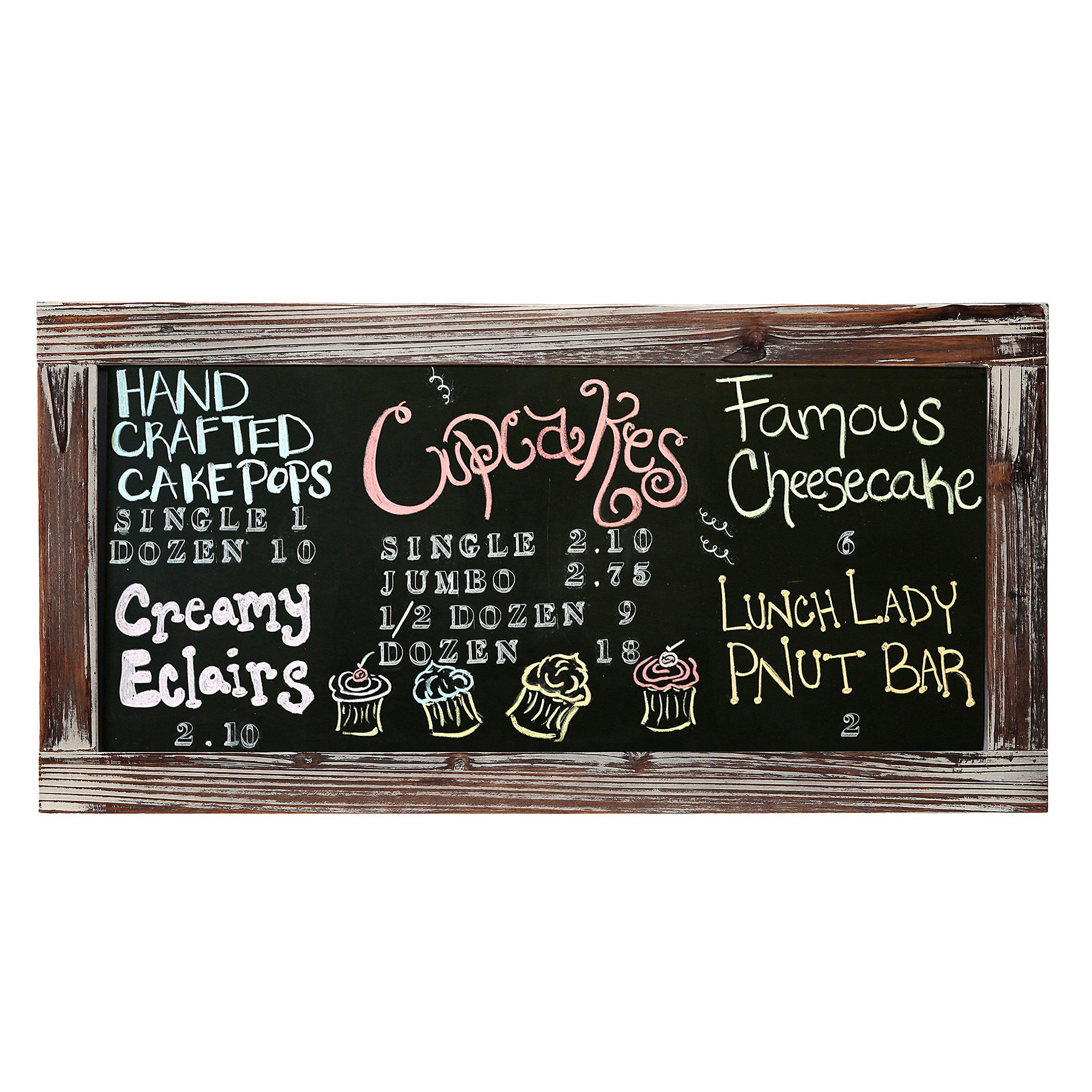 25 X 12 Rustic Style Wood Framed Erasable Chalkboard Message Memo Board, Cafe Menu Sign