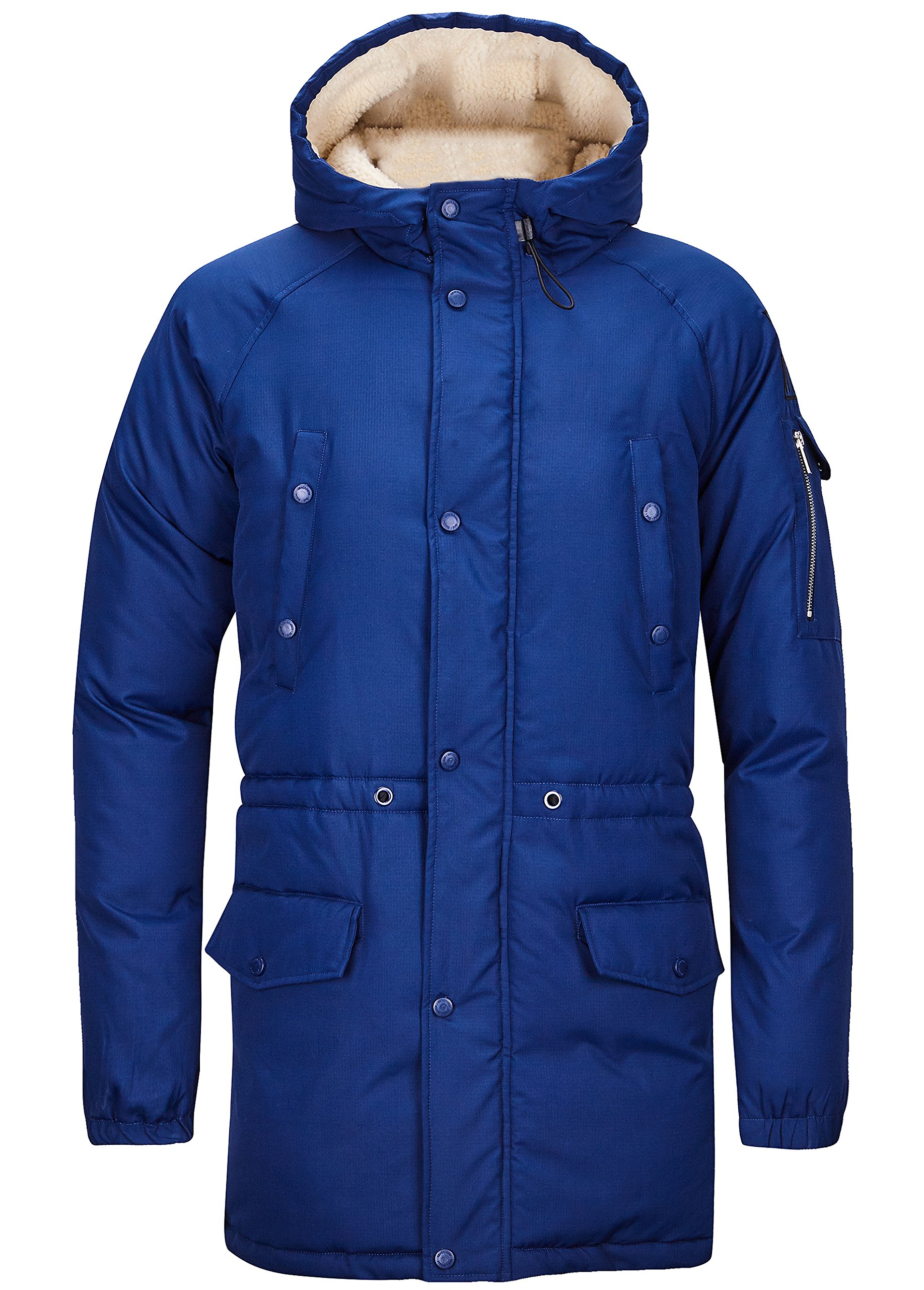 SWISSWELL Parka Jacket for Men Winter Thicken Cotton Jacket with Sherpa Hood Navy S