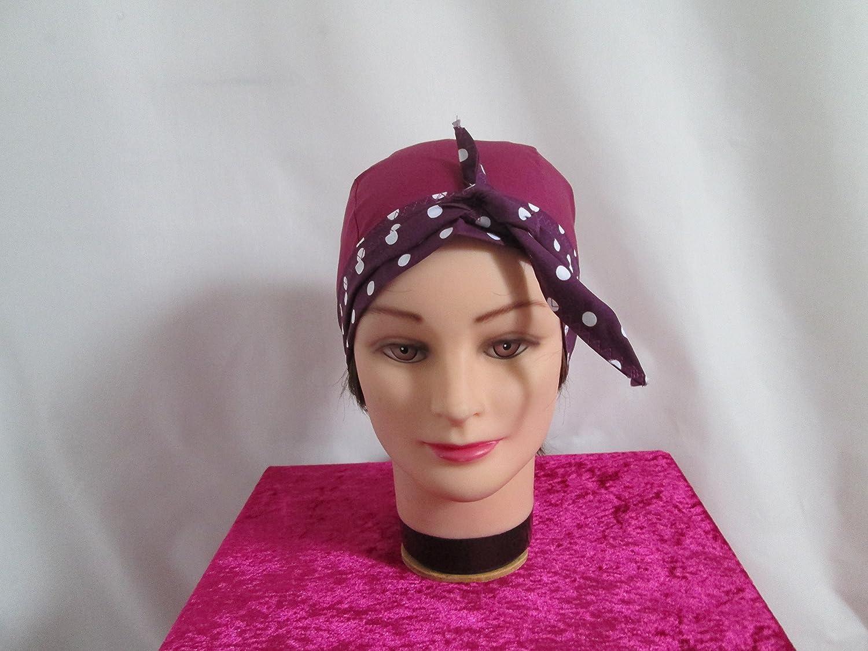 Foulard, turban chimio, bandeau pirate au féminin prune et prune à petits à pois blancs