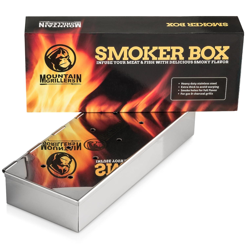 Mountain Grillers Affumicatore Box per BBQ in Acciaio Inox - Smoke Box per Affumicare la Carne su Griglia con il Barbecue a Gas o a Carbonella - Accessorio Robusto con Coperchio Incernierato Vida Viva Home