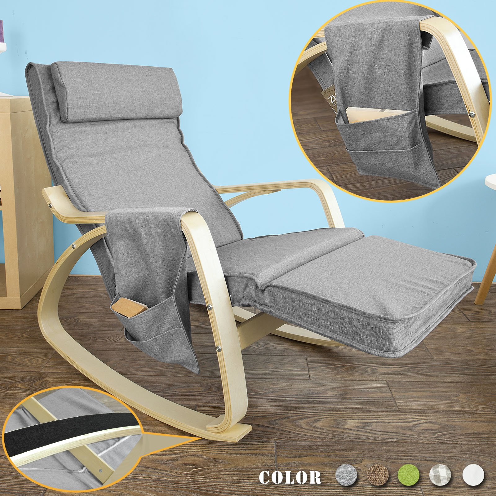 Haotian FST18-DG, Comfortable Relax Rocking Chair, Lounge Chair Recliners with Adjustable Footrest & Side Pocket by Haotian