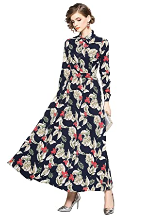 35252054a3f31 Image Unavailable. Image not available for. Color  Women s Floral Print  Collared Neck 3 4 Sleeves Long Maxi Casual Shirts Dress