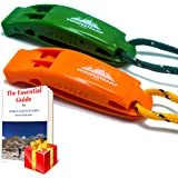 VnSupertramp Emergency Whistle with Long Lanyard 18 Inches and Large Clip - Premium ABS Plastic Super Loud for Boating Kayaking Hiking with Exclusive Survival E-book Included (2 Pack/4 Pack)