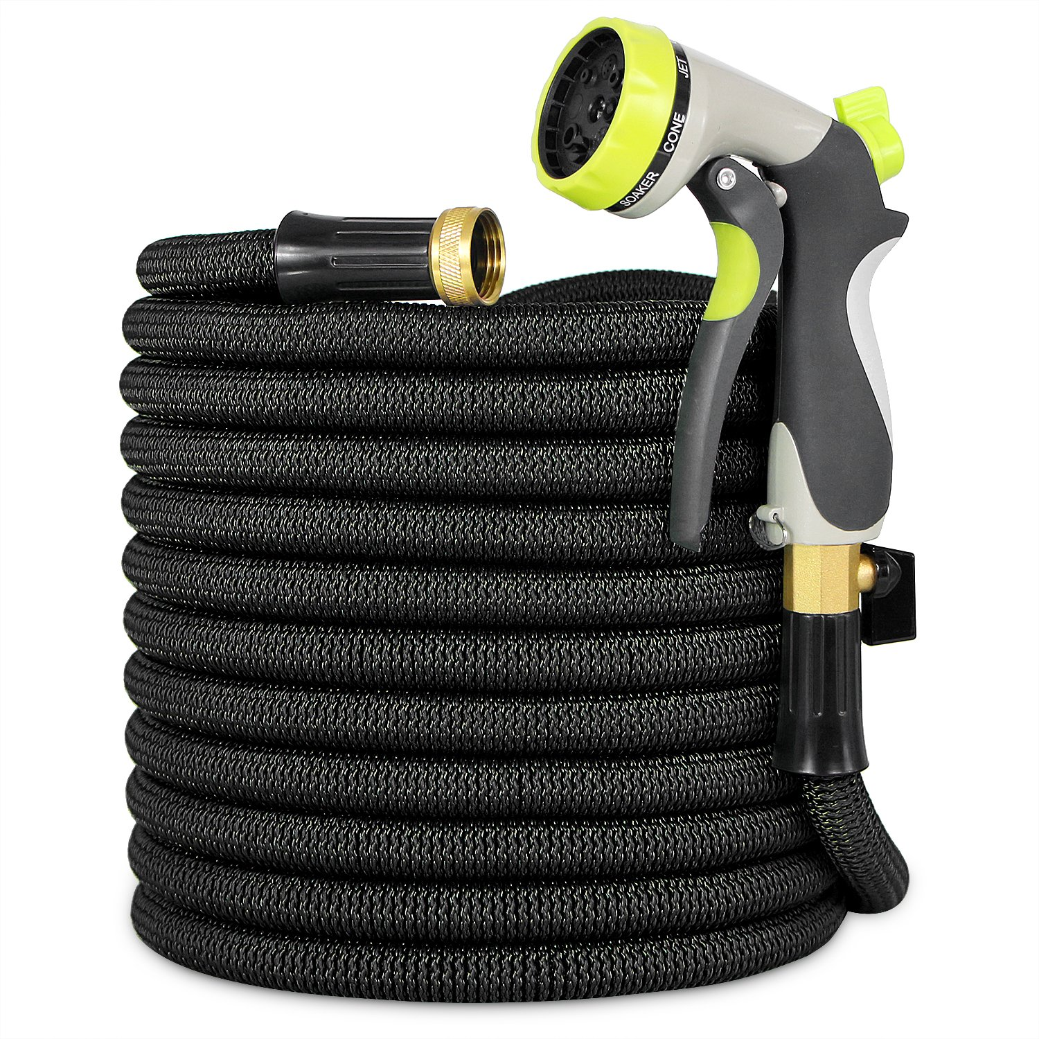 Garden Hose, Lightweight Expandable Water Hose, Expanding Hose with Solid Brass Connector, Double Latex Inner Tube, for Car Washing, Garden Watering (100FT, Black) by HooSeen