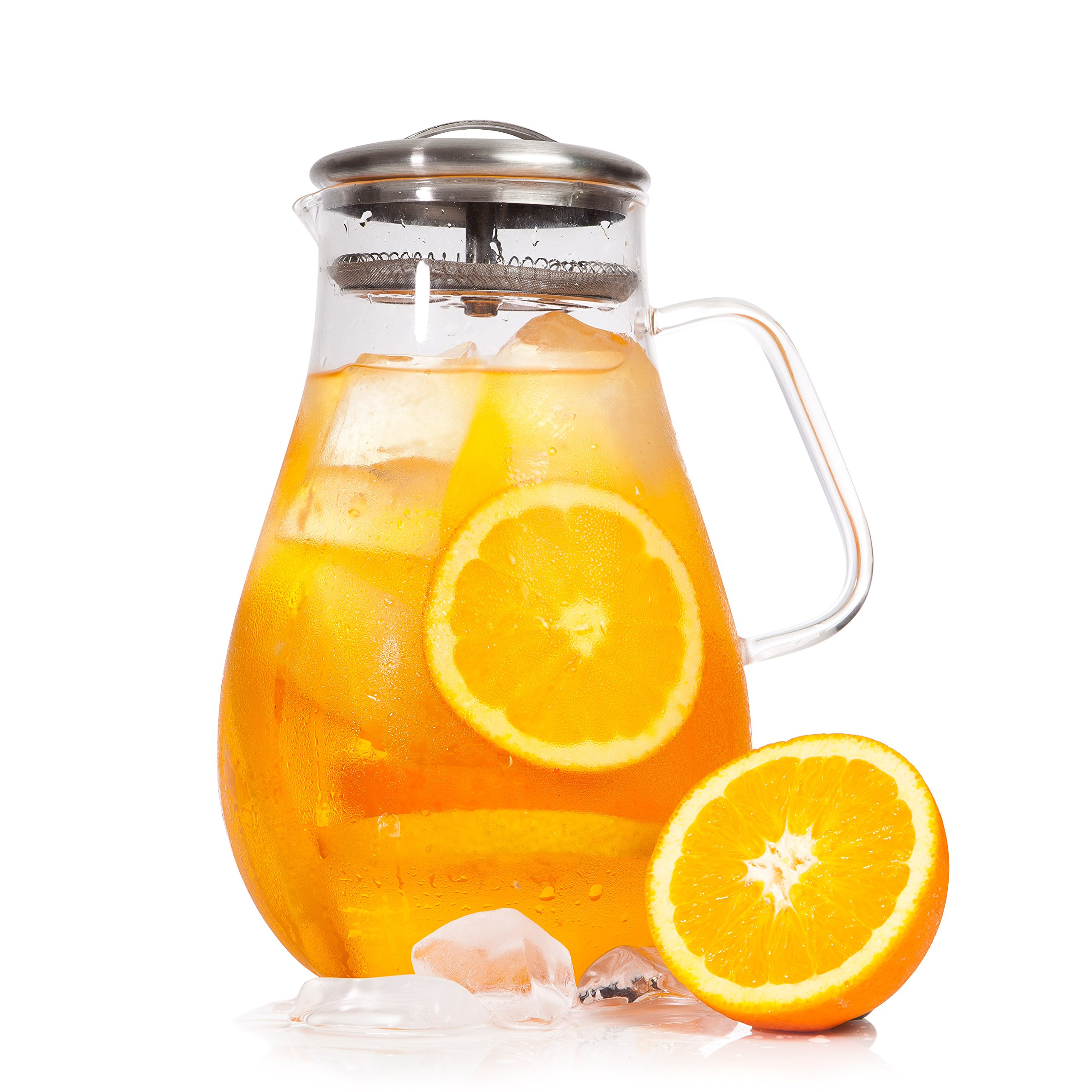 Cold/Hot Borosilicate Glass Tea Pitcher for Ice Water, Beverage, Drinks   Stainless Steel Lid   Handle & Strainer - 64 oz