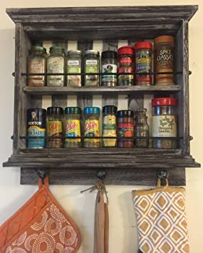 Wooden Spice Rack Vintage Weathered Reclaimed Wood Modern Wall Mount