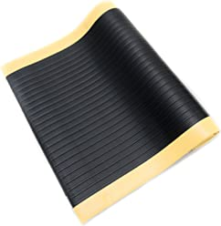 "Bertech Anti Fatigue Vinyl Foam Floor Mat, 3' Wide x 5' Long x 3/8"" Thick, Ribbed Pattern, Black w/Yellow Border, Bevelled on All Four Sides (Made in USA)"